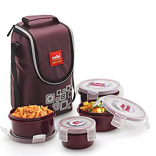 Cello Max Fresh Click Polypropylene Lunch Box Set, 4-Pieces, Brown