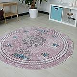 Designer Teppich mit Medaillion und Blüten Muster in Pink Rosa Rose Pastellfarbe waschbarer Teppich mit rutschfestem Rücken und Kelim Kilim