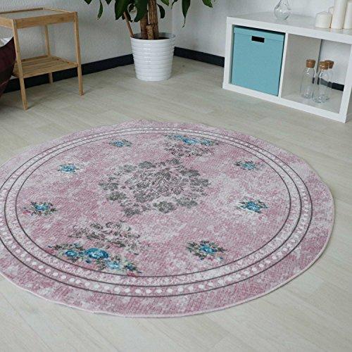 Rose Oval Teppich (Designer Teppich mit Medaillion und Blüten Muster in Pink Rosa Rose Pastellfarbe waschbarer Teppich mit rutschfestem Rücken und Kelim Kilim Oberfläche hochweritg Rund und Oval (Oval 120cm x 180cm))