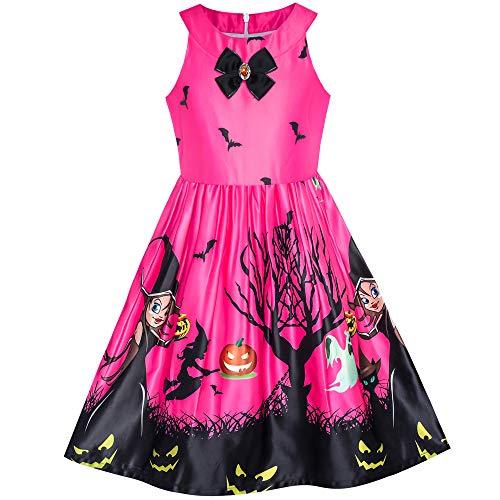 Mädchen Kleid Fuchsie Halloween Witch Schläger Kürbis Kostüm Halfter kleiden Gr. 116