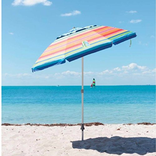 Tommy Bahama Beach Umbrella 7ft 2.1m Parasol UPF 100+ with Sand Anchor Carrycase (Flip Flop)