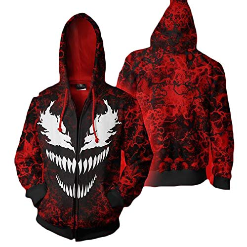 Kostüm Kapuze Für Erwachsene Hoodie Rot - Alaeo Erwachsene Zipper Hoodie Cosplay Kostüm Spider-Man Venom 3D Print Pullover Baseball Pullover Warme Kapuzenpulli Sweatshirt Oberbekleidung Jacke,Rot,5XL