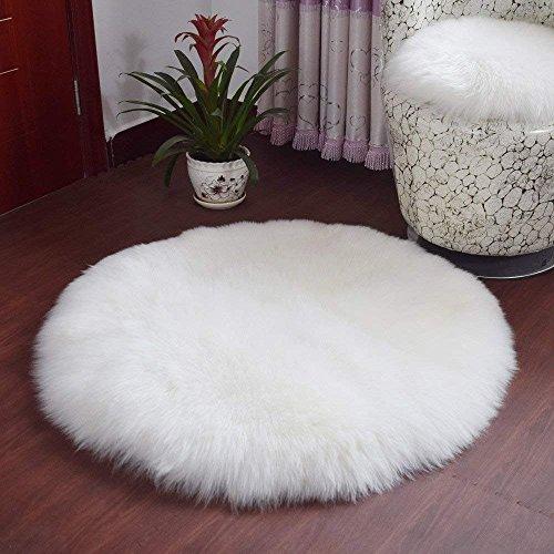 QINGLOU Faux Lammfell Schaffell Teppich (45 x 45cm) Wohnzimmer Schlafzimmer Kinderzimmer/Als Faux Bett-Vorleger oder Matte für Stuhl Sofa (Weiß(Runde), 45 x 45cm)