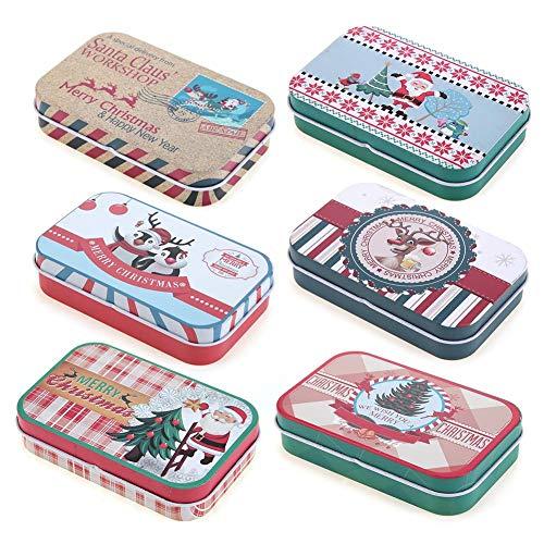 Demiawaking Boîtes à Bonbons Noël Mini Boîte de Rangement de Fer-Blanc en Métal, Boîtes à Cadeaux Multicolore à Biscuits Sac à Bonbons Boîte de Bidon Mini Rectangle Bijoux