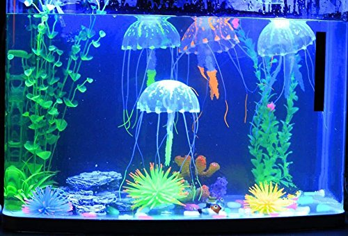 Jooks 5 Stücke Jellyfish Aquarium Dekoration Künstliche Künstliche Quallen für Aquarium Deko Fisch Tank Aquarium Ornament Glowing-Effekt Fish Tank Ornament (Künstliche Aquarium)