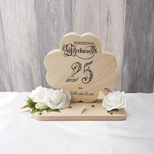 Geldgeschenk 25.ter Hochzeitstag, Silberhochzeit, Geldgeschenk, Holz, Kleeblatt