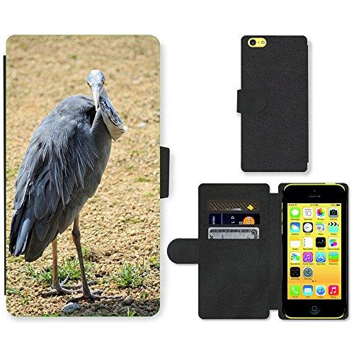 Just Mobile pour Hot Style Téléphone portable étui portefeuille en cuir PU avec fente pour carte//m00139403Animal Nature Argent/Héron/Apple iPhone 5C