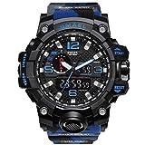 Blisfille Analog Uhr Herren Wasserdicht LED Militärisch Herrenuhr Tarnung Multifunktional Blau Outdoor Sportuhr Armbanduhr Automatikuhr