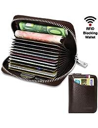 Tarjetero para Tarjetas de Crédito para Hombre Mujer RFID Titular de la Tarjeta de Crédito de Cuero con 11…