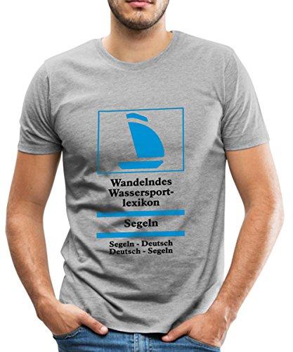 Spreadshirt Segeln Lexikon Wörterbuch Männer Premium T-Shirt, 5XL, Grau meliert