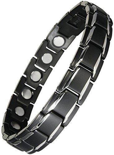 Original YINGA-VITAL® Magnetschmuck Herren Armband. Extrastarke 4000 Gauss Magnete. 18 Magnete. Magnetarmband in Stil Bicolor Schwarz-Silber, Länge 24,5cm