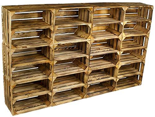 Rustikales Bücherregal, Schrank (Kistenbaron 12er Set Schuhregal Bücherregal Weinkiste Obstkiste als Regal - Geflammt - Holzkiste Dekokiste (50 x 40 x 30 cm))
