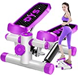 Air Climber Aerobic Fitness Step Stair Stepper mit Accessory Cord LCD Monitor Magnetic Massage Pedal Purple