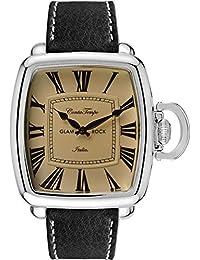 Glam Rock Men's Vintage Black Leather Band Steel Case Quartz Watch GR28082F