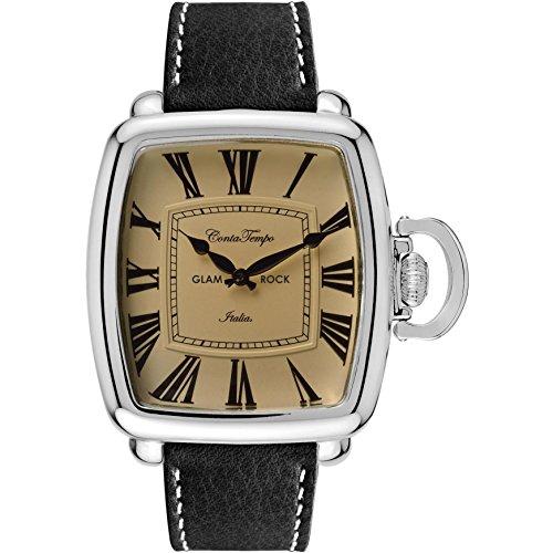 Glam Rock Men's Vintage Black Leather Band Steel Case Quartz Champagne Dial Analog Watch GR28082F