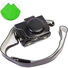 First2savvv negro Calidad premium Funda Cámara cuero de la PU cámara digital bolsa caso cubierta con correa para Canon PowerShot G5 X + paño de limpieza XJD-G5X-HH01G11
