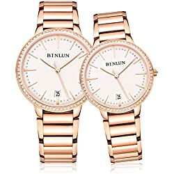 binlun Original Rose Gold Ton Paare Casual selbst Aufziehen Armbanduhr für Hochzeit, Verlobung, Jahrestag