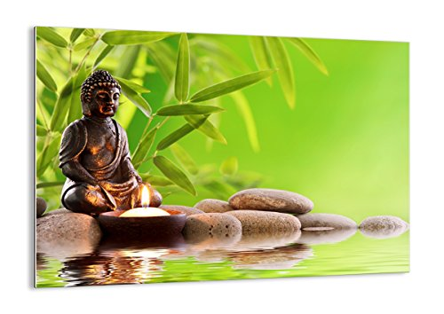 Bild auf Glas - Glasbilder - Einteilig - Breite: 100cm, Höhe: 70cm - Bildnummer 2392 - zum Aufhängen bereit - Bilder - Kunstdruck - GAA100x70-2392 - Buddha-statue In Japan