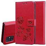 TANYO Hülle Geeignet für Samsung Galaxy A51, Wallet Tasche Hülle, Retro Blumen Muster Design, Premium PU Leder Tasche Flip Wallet Case, mit Kartenfächern und Standfunktion. Rot