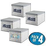 mDesign set da 4 contenitori armadi – portabiancheria in tessuto – grigio – organizer cassetti e armadi, ideale box per indumenti, cosmetici, bigiotteria – scatola con coperchio
