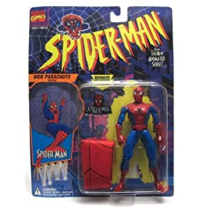 "Spider-Man The Animated Series Spiderman with Web Parachute 5"" Action Figure (1994 Toy Biz) by Toy Biz"