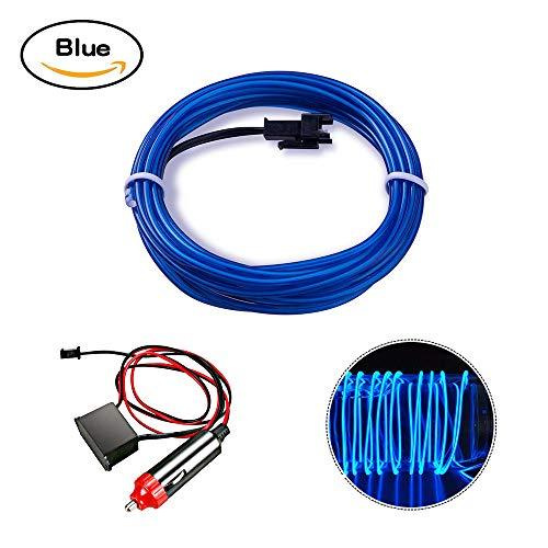 EL Wire, HopeU5® 5M Neon Lights Glowing Strobing Corda a batteria Super Bright per auto Decor Cool Signs-Blue