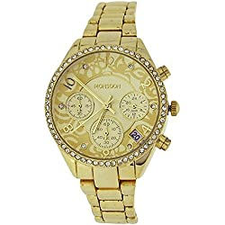 Monsoon Ladies Gold Tone Chrono Effect Crystal Bezel Bracelet Strap Watch MO4000