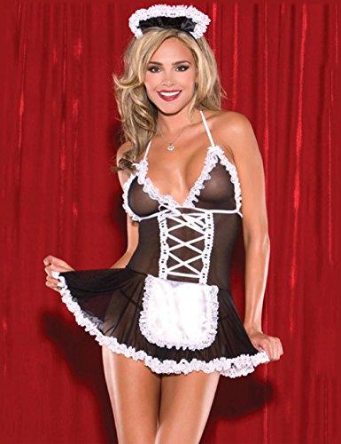 SOTEER Damen Sexy Dienstmädchen Mädchen Kostüm 3tlg Hausmädchen Cosplay Schulmädchen Kostüm Babydoll Set