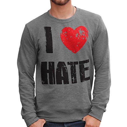 Felpa Girocollo I LOVE HATE - MUSH by Mush Dress Your Style Grigio scuro
