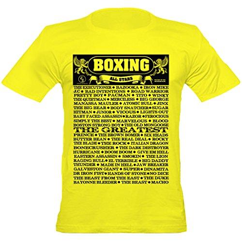 Urban Shaolin Mens Boxing Nickname All Stars mit Rundhalsausschnitt passte T-Shirt, Large, Gelb