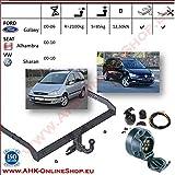 AHK Anhängerkupplung mit Elektrosatz 7 polig für Ford Galaxy / Seat Alhambra / VW Sharan 2000-2006 Anhängevorrichtung Hängevorrichtung - starr, mit angeschraubtem Kugelkopf