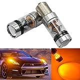 FEZZ Auto LED Ampoules Clignotants 3030 20SMD 100W BAU15S 1156 150° avec Projecteur, Ambre Jaune, Paquet de 2