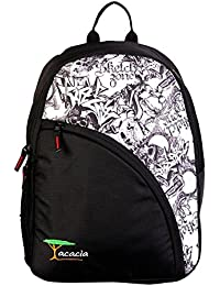 Acacia Single 17 Inches White With White Printed Casual Backpack