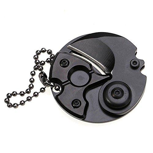 Mini bewegliches Münzen faltendes Messer Keychain EDC im Freientaschen Überlebens Werkzeuge Schwarz (Münze Mini)