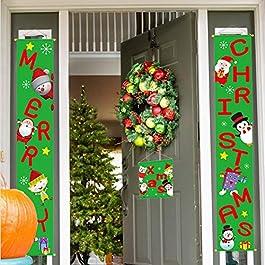 Banner Di Natale Portico Di Natale Segno Portico Logo Distico Porta Di Natale Decorazione Pensile Decorazione Di Natale Di Benvenuto Bandiera Sospesa 9.8 59IN