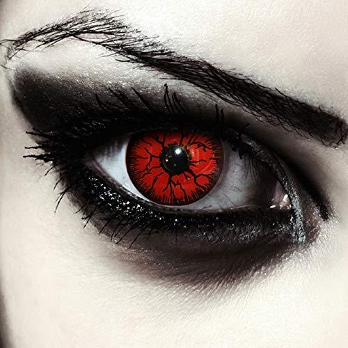 Farbige rote Halloween Monster Kostüm Kontaktlinsen ohne Stärke weiche Jahreslinsen, 2 Stück, Designlenses, Model: Red Monster