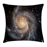 Kuahua-Home Galaxy Throw Pillow Cushion Cover, Stars in Galaxy Spiral Planet Outer Space Nebula Astronomy Theme Image Print, Decorative Square Accent Pillow Case, 18 X 18 inches, Black Beige Violet