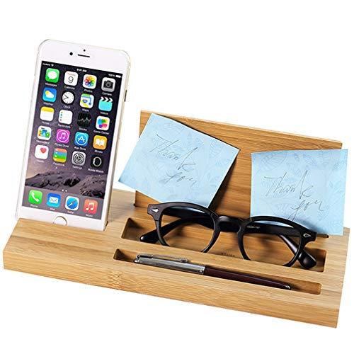 Lefu Phone Stand Supporto Tablet Cellulare - iPad E-reader Pen Pencil Post it Desk Organizer - Wooden Bamboo Desktop Universal Home Office Supplies