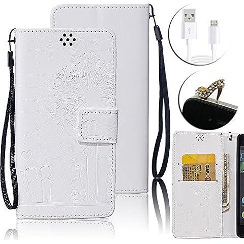 Huawei P9 Lite Custodia in Pelle, Vandot Flip PU Portafoglio Goffratura Dandelion Amante Carte Slot Credito Sottile Stand Caso Guscio + Cavo USB + Scarpe Tacco Anti-Dust Spina - Bianco