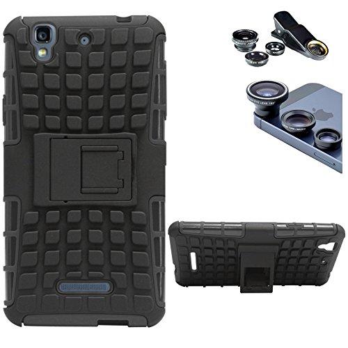 DMG Dual Hybrid Hard Grip Rugged Kickstand Armor Case for YU Yureka Plus (Black) + 3in1 Fisheye Wide Angle and Macro Lens