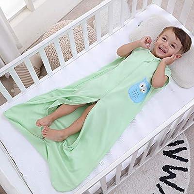 Saco de dormir para bebé de verano para niña, primavera, pijama de algodón fino con búho verde - 0,5 tog.