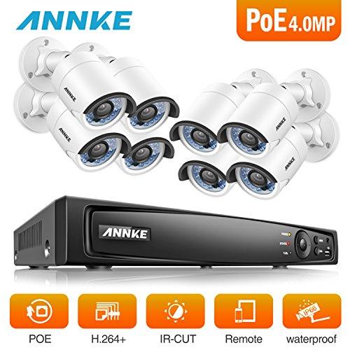 ANNKE Überwachungskamera Set/8 Kanal 4.0MP PoE NVR mit 8* 4Megapixel 2688*1520P Bullet Outdoor Kamera/Nachtsicht Bewegungserkennung Überwachungssystem/ohne Festplatte