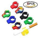 Isuper 8PCS Cigarrillo anillo de fumar,Anillo del Cigarrillo de Silicona Estante de Cigarrillo para todos fumadores proteger dedos multicolor