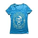 Frauen T-Shirt Lebe schnell - stirb zuletzt, Fahrradermine, Motorradbekleidung, Liebe zum Fahren, tolles Geschenk für Biker (Medium Blau Mehrfarben)