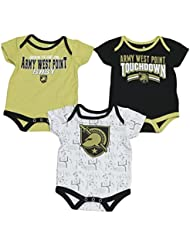 "Army Black Knights NCAA ""Playmaker"" Infant 3 Pack Bodysuit Creeper Set"
