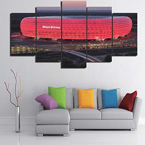5-teiliges Leinwandbild Bayern München Allianz Arena Group HD Raumdekor Bild Druck Poster Wall Art L