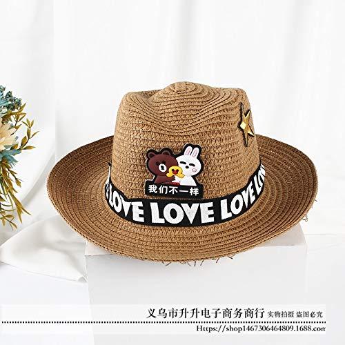 mlpnko Jungen und Mädchen kühlen Hutstrandhutstrohhutvisierbaby-Sonnehutkarikaturkindersonnenhut kakifarbig 50-52CM - Peruanische Mädchen Kostüm