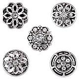 Morella® Damen SMALL Click-Button Set 5 Stück Druckknöpfe 12 mm Ø Blumen Variation mit Verzierungen und Strass