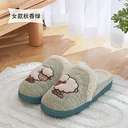 DogHaccd pantofole,Cartoon carino il cotone pantofole femmina inverno indoor fondo spesso slip home paio di pantofole di peluche maschio pack con home Verde