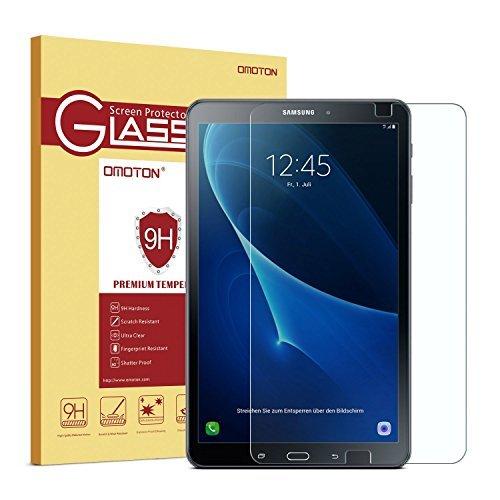 OMOTON Panzerglas Schutzfolie für Samsung Galaxy Tab A 10.1 (2016) T585 und T580, mit [2.5D abgerundete Kanten ] [9H Härte] [Kristall-klar [kratzfest] [Luftbläschen-frei][lebenlange Garantie]
